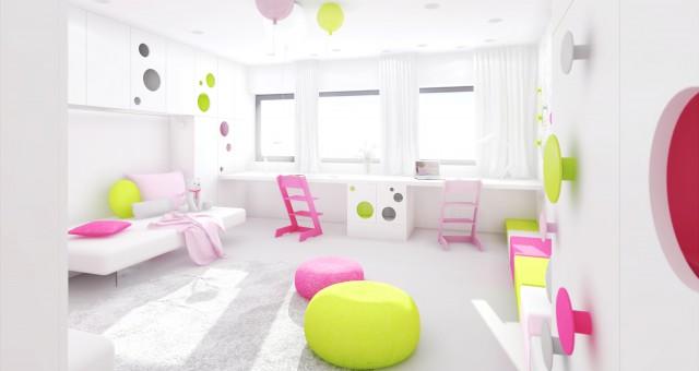 Návrh interiéru dětského pokoje pro dvě děti, Zlín